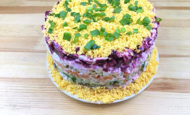 Багатошаровий салат Овочевий торт - рецепт приготування