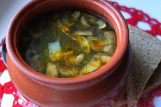 Грибний суп з овочами в горщиках - рецепт приготування