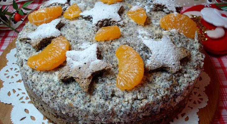 Різдвяний маковий торт з мандаринами - рецепт приготування