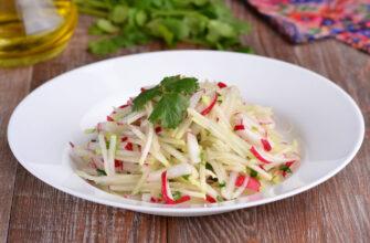 Салат з капустою кольрабі редискою і кінзою - рецепт приготування