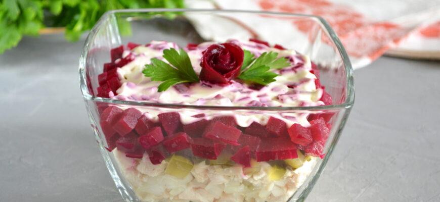 Салат з куркою і буряком листковий - рецепт приготування